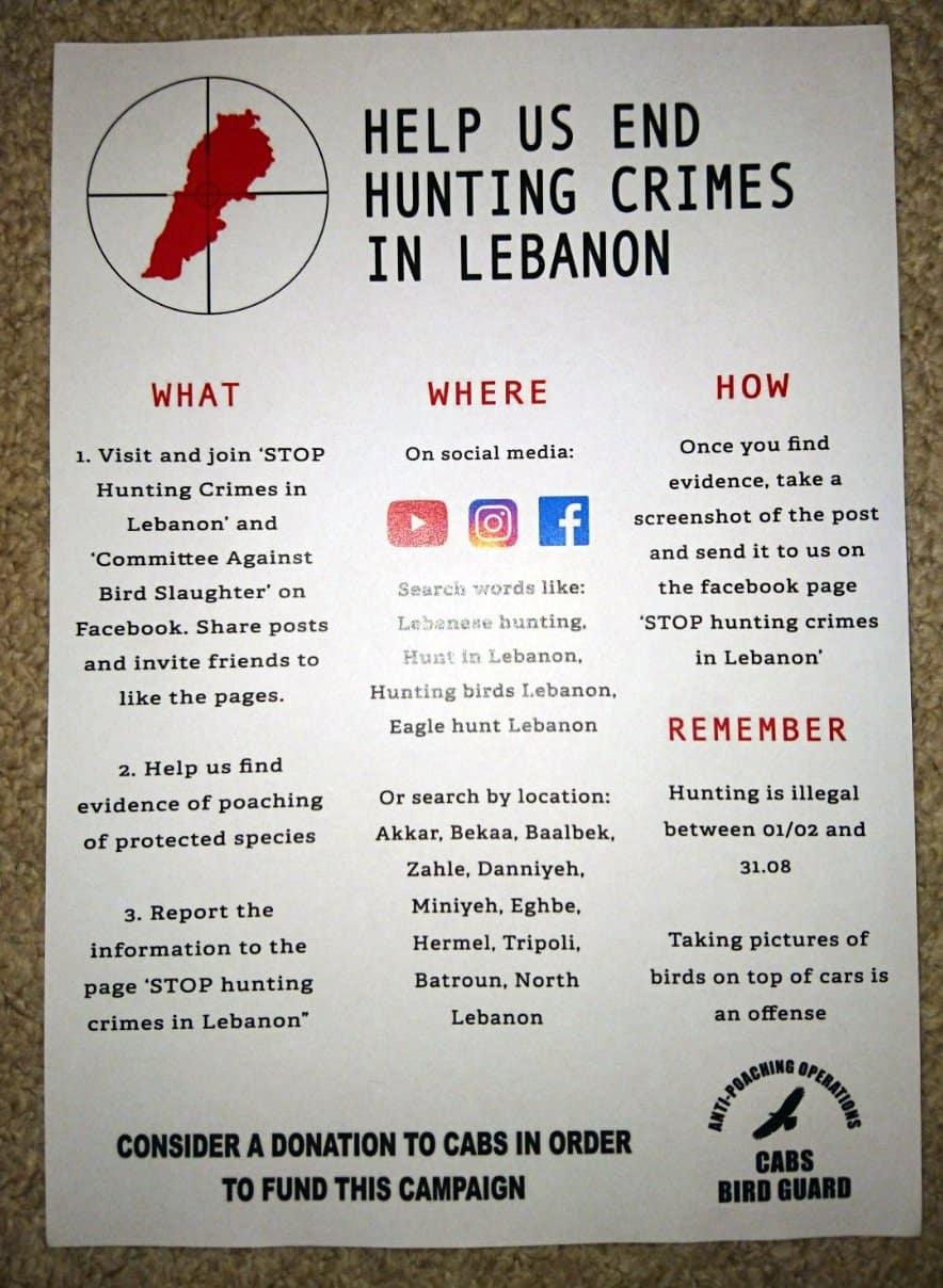 """Ulotka """"Pomóż nam zakończyć kłusownictwo w Libanie"""""""